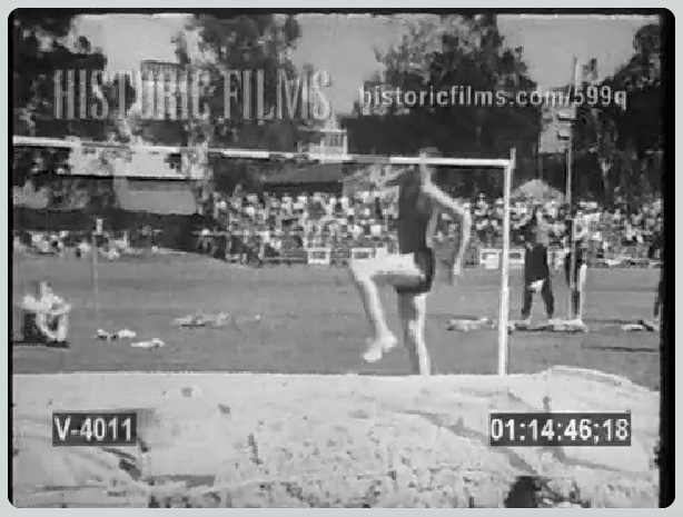 Dick Fosbury's revolutionary flop is shown several times in this video.