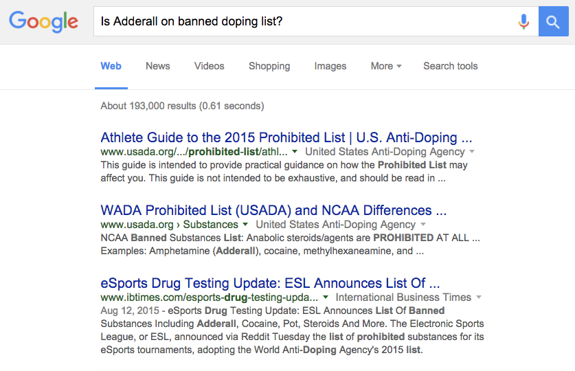 Here is what Google displays when you ask: Is Adderall on the banned doping list?