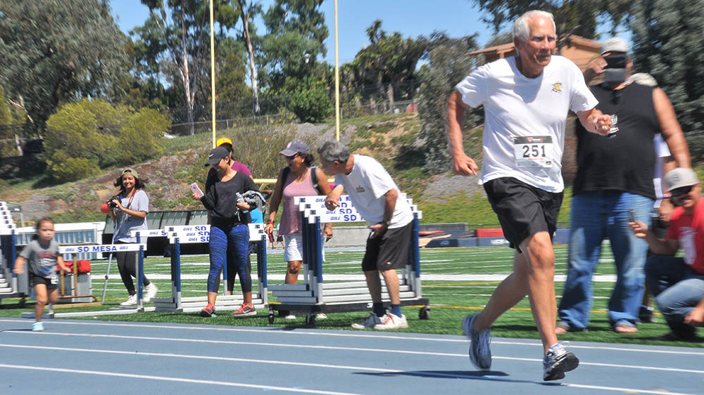 George Larch-Miller took last in Grandparent-Grandchild Relay but won the most hearts with teammate Ellie.