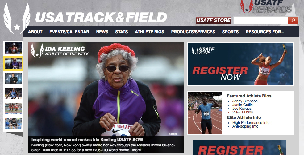 Here's how USATF depicted Ida in naming her Athlete of the Week on May 5, 2016.