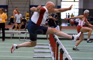 Bob hurdles at Kamloops worlds.