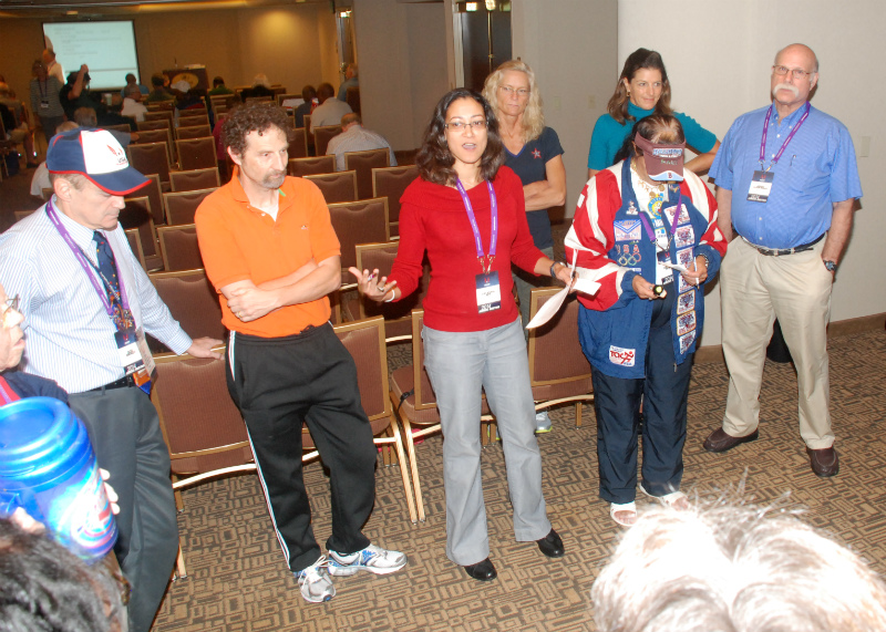 Latashia Keys (in red between Andy Hecker and Mary Trotto) told why she should be chosen active-athletes rep. She won.