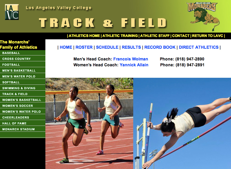 Homepage of L.A. Valley College track team.