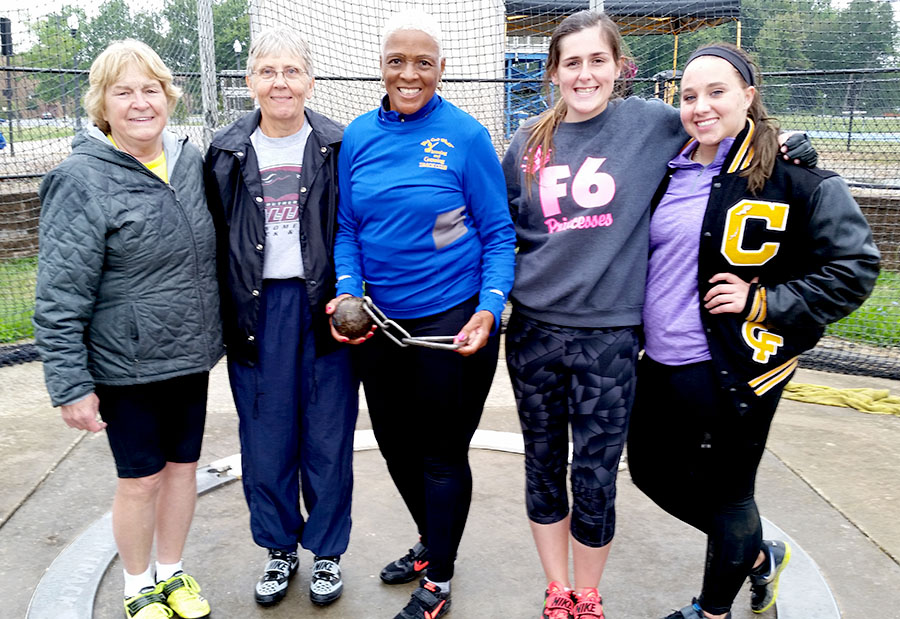 Mary Hartzler and Cindy Wyatt  with Myryle and others at Norm Bower throws pentathlon.