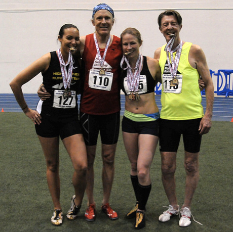 Dave Albo (in red) and pals show off medals at Air Force Academy meet.