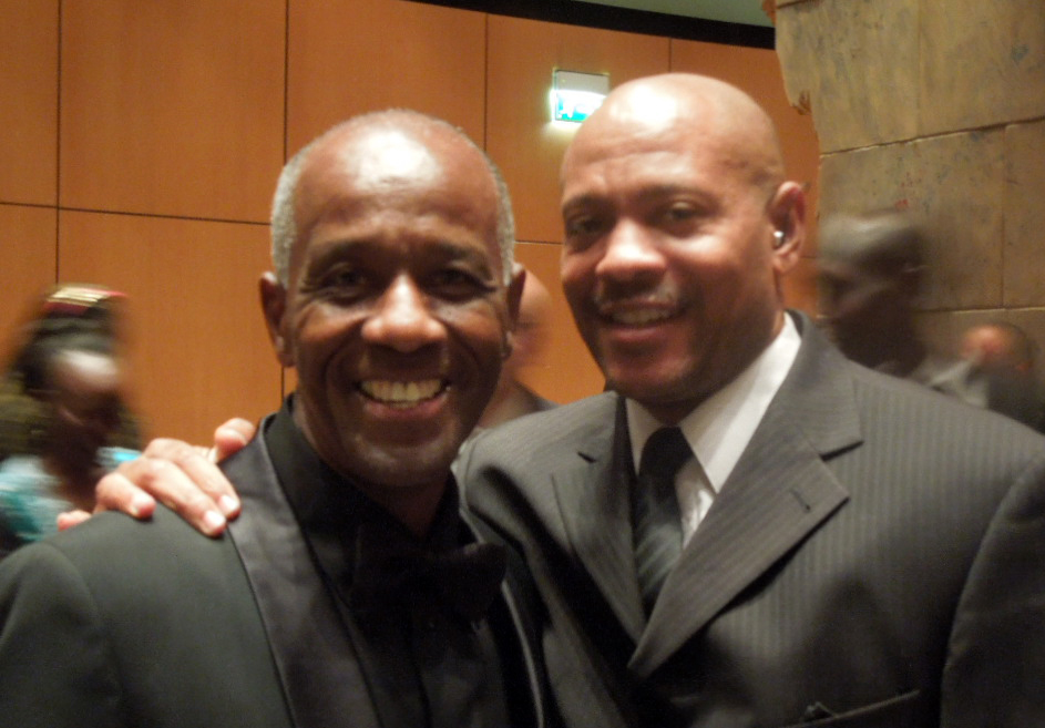 Maurice Greene (right) posed with Charles at the IAAF Athletics Gala in Monte Carlo.
