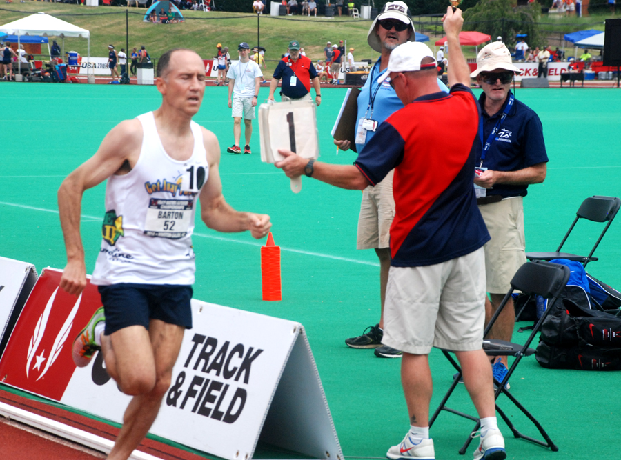 Brad nears bell lap of solo 1500 at nationals.