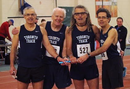 University of Toronto TC relayists from left are Peter Zowkewich, Duncan Greenshields, Doug and John 'Run Like' Helliker.