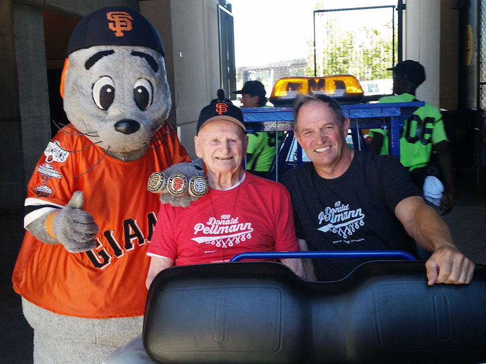 Giants mascot gave Don and his son Ned a ride at Aug. 12 game (S.F. lost to Astros 2-0.)