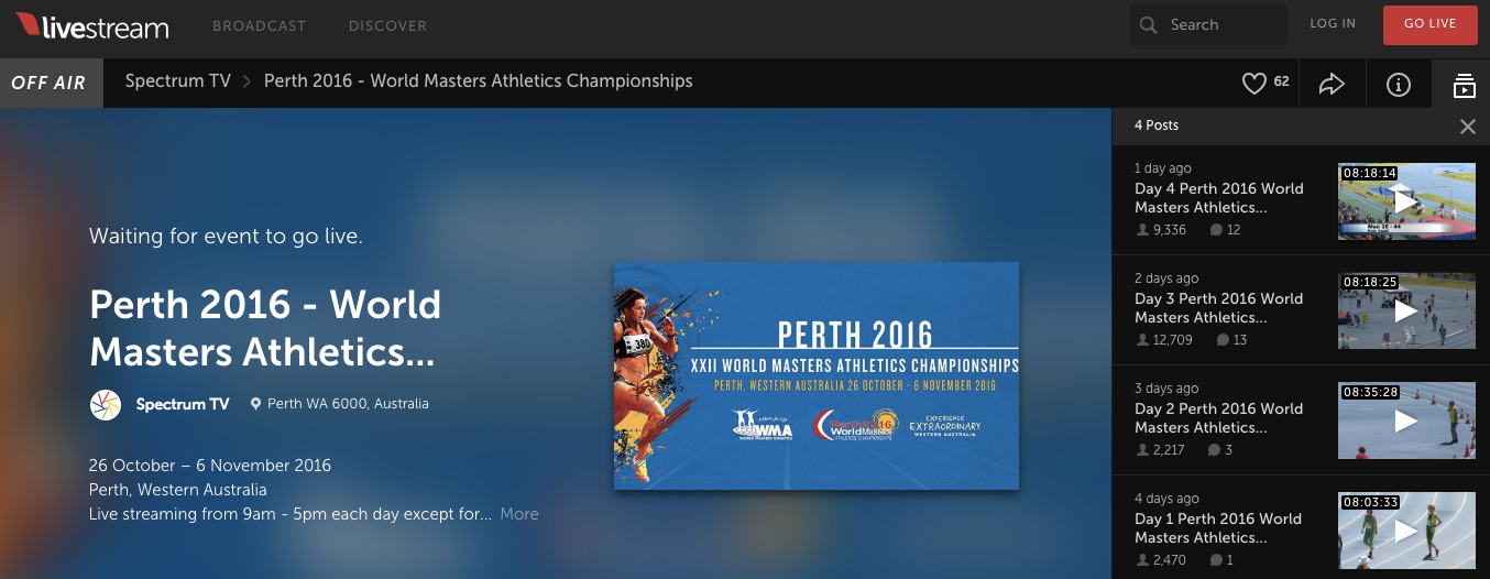 As of Sunday, four days of Perth action were archived  on the livestrream site.