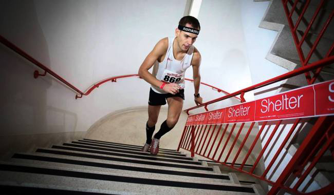 Piotr is a professional stair climber.