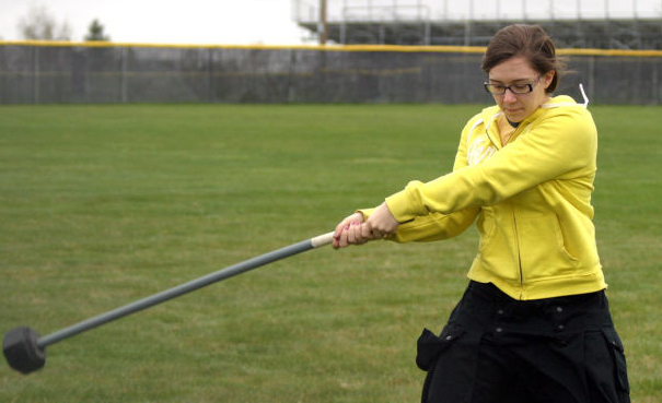 So here's where the real hammer throw came from.  Throwing a real hammer.