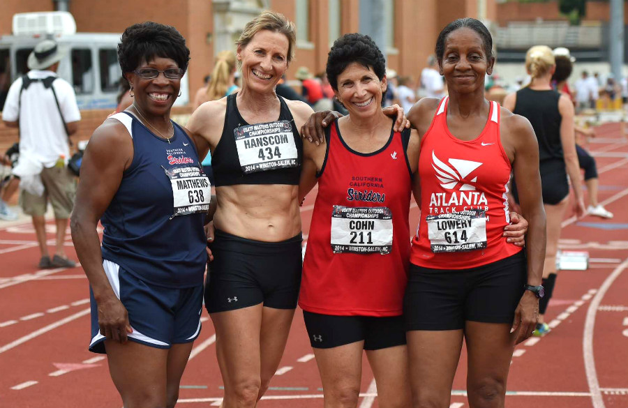 W60 shuttle hurdle relay AR team (from left) Brenda Matthews, Rita Hanscom, Linda Cohn and Linda Lowery.