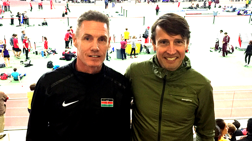 Sean Wade (left) at Boston indoor meet where he shattered WR and AR.