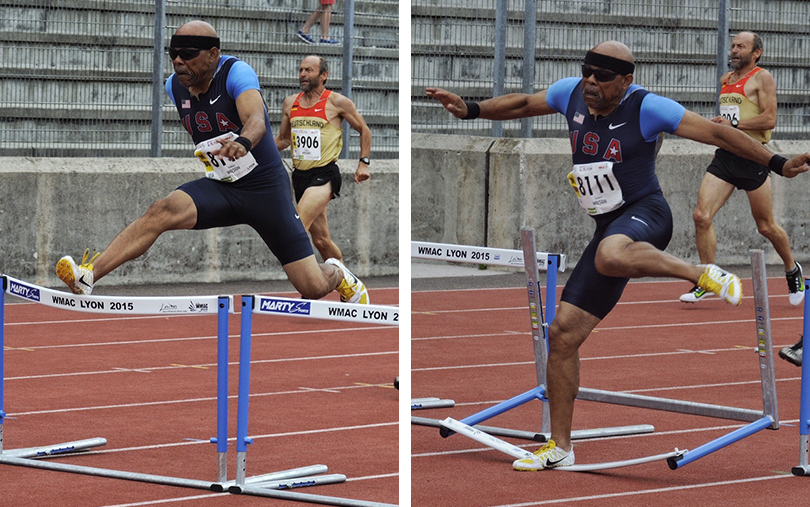 These Tom Phillips shots saved Thad Wilson from DQ in 300 hurdles at Lyon.