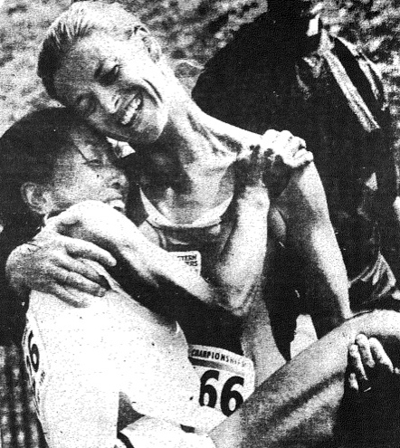Winner Susie Buchanan lifts  runner-up Toshi after the W40 5000 at the first world masters championships — 1975 in Toronto.