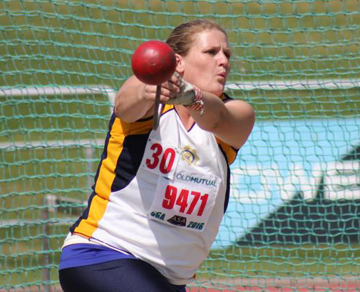 Tanya Pubalakan competed in W30 weight throw at Central Gauteng Masters Athletics Championships.